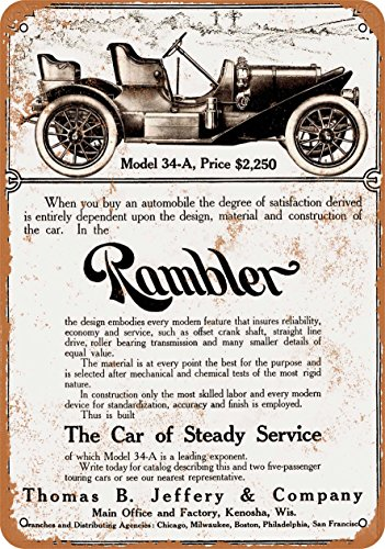 Wall-Color 7 x 10 METAL SIGN - 1908 Rambler Model 34-A Automobiles - Vintage Look Reproduction -  55085