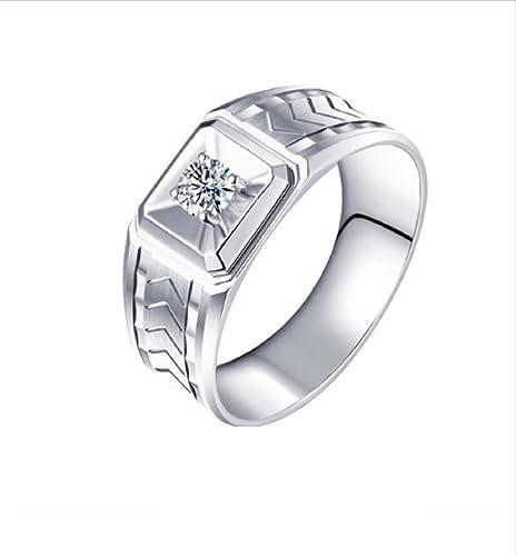 GOWE anillos para hombres 0.221 naturales ct corte redondo anillo de diamante 18 K oro blanco