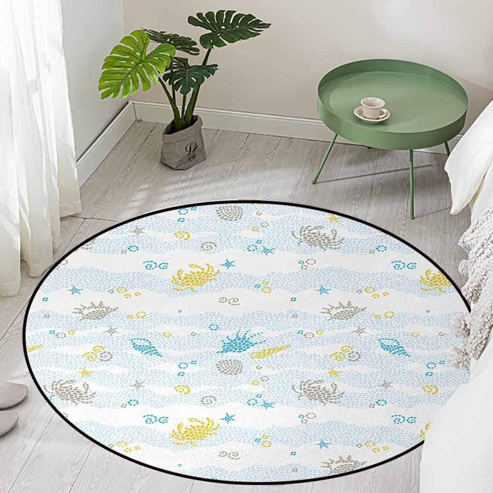 Round Office Chair Floor Mat Foot Pad Maritime Sea Theme Crabs and Seashells Animals on The Spotted Background Print Diameter 66 inch Polyester Area Rug Mat