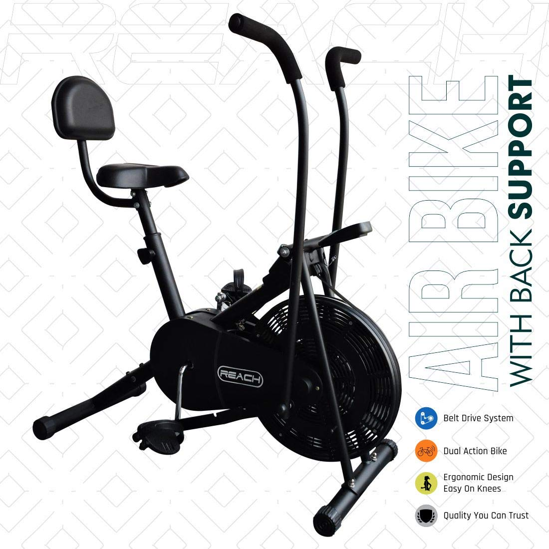 Reach Air Bike Exercise Fitness Cycle with Moving or Stationary Handle Adjustments