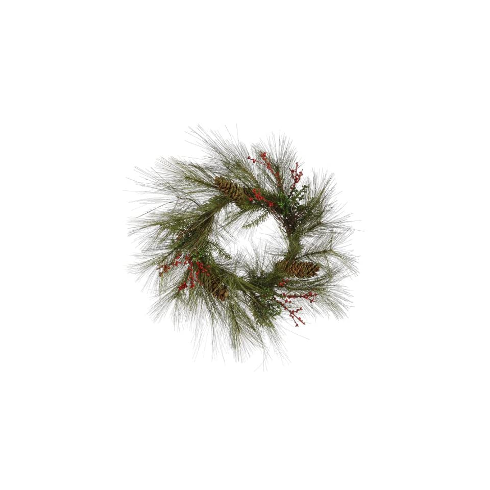 24 Long Needle Jackson Pine & Berries Artificial Christmas Wreath   Unlit