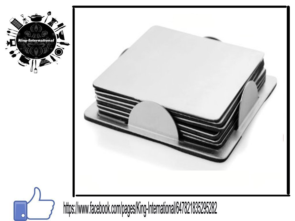 King International 100% Stainless Steel Set of 6 Square coasters set with stand | table coaster | heat mat | 8 cm each