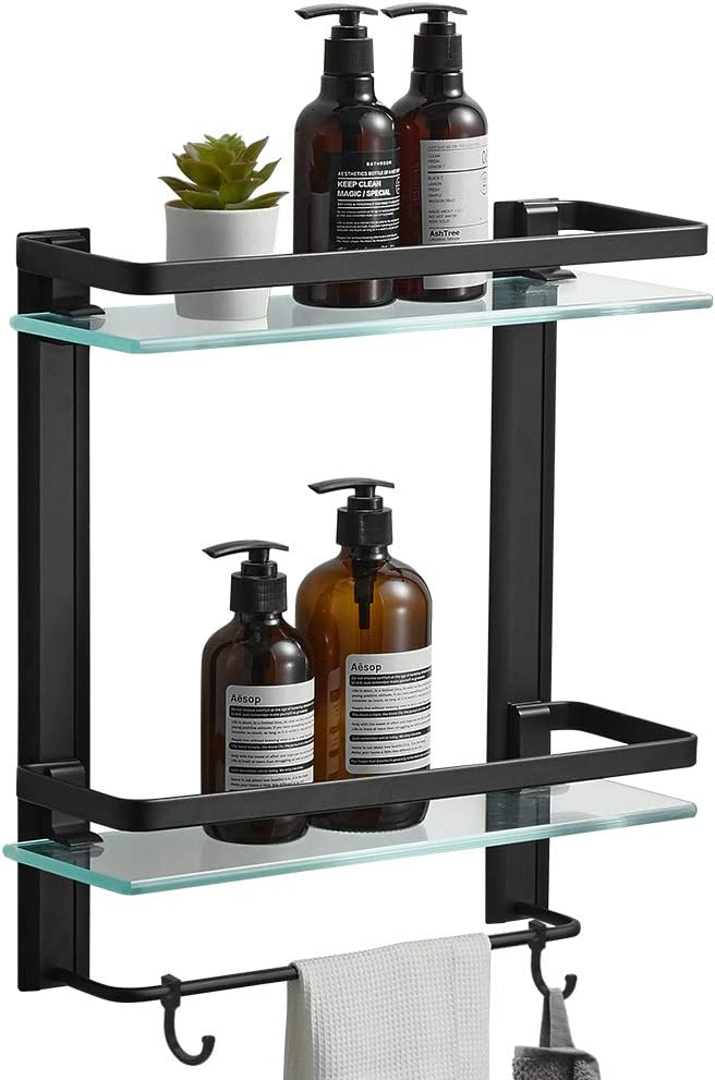 BESy Heavy Duty Lavatory Glass Bathroom Shelf, 2 Tier Tempered Glass Shower Shelves with Towel Bar Wall Mounted, Shower Storage 15 by 5 inches, Matte Black Finish/Aluminum