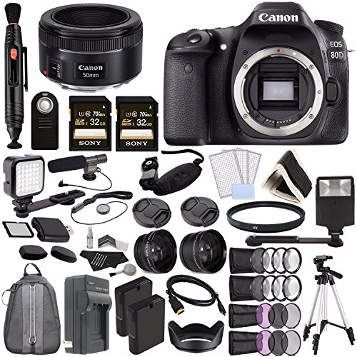 Canon EOS 80D DSLR Camera (Body Only) + Canon EF 50mm f/1.8 STM Lens + Sony 32GB SDHC Card + Rechargable Li-Ion Battery + Charger + HDMI Cable + Remote + Card Reader + Flash + Tripod Video Creator Kit -  GreensCameraWorld, 1263C004-120216-4