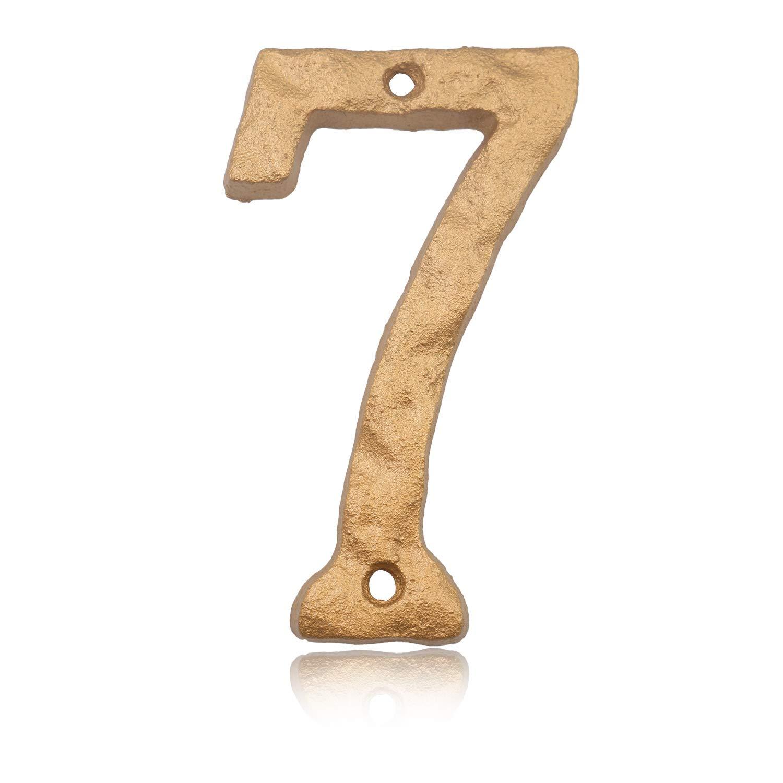 Hausnummern mit elegantem goldfarbenem Finish einzigartiges Hammeroptik massives Gusseisen 15,2 cm