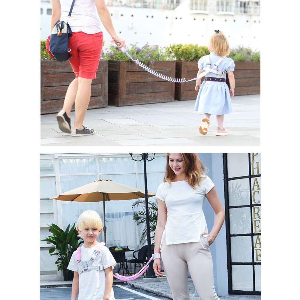Children 3-in-1 Baby Reins Walking Backpack Harness for Toddlers Kids Backpack 1.5m Bungee Straps Link Anti Lost Safety Wrist Cuff with Lock