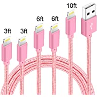 5-Pack (3ft,3ft,6ft,6ft,10ft) Nylon Braided Charging Cord