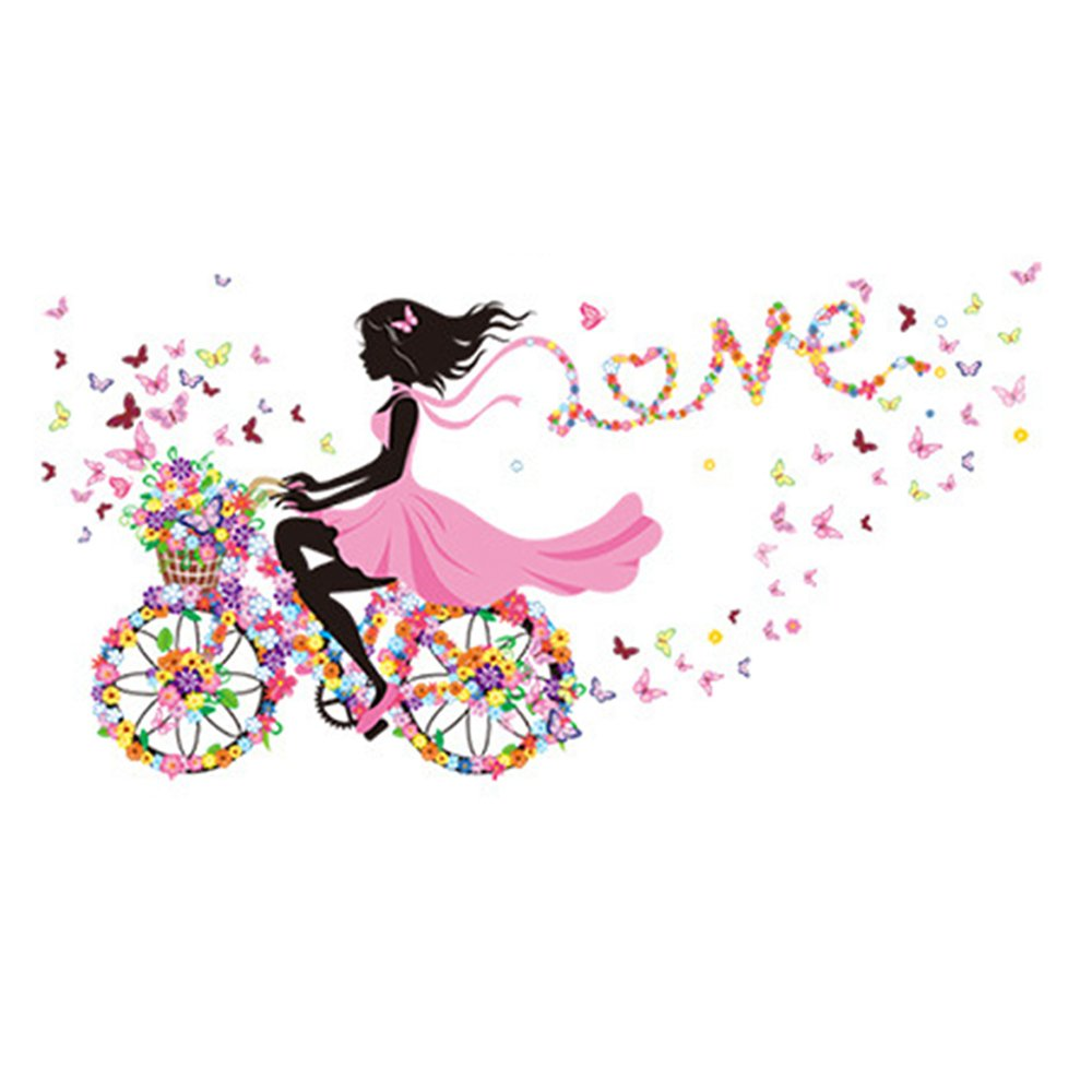 Winhappyhome Love Flower Bicycle Girl Wall Art Stickers for Baby Girls Room Living Room Nursery Background Removable Decor Decals