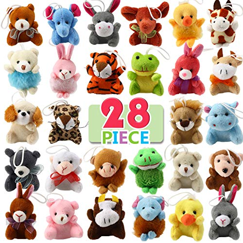 28 Piece Mini Plush Animal Toy Set, Cute Small Animals Plush Keychain Decoration for Themed Parties, Kindergarten Gift Giveaway, Teacher Student Award, Goody Bags Filler For Boys Girls Child Kid -