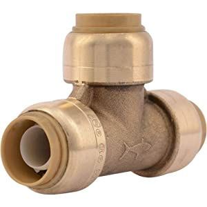 SharkBite U362LFA Tee Plumbing Pipe Connector 1/2 In, PEX Fittings, Push-to-Connect, Copper, CPVC, 1/2-Inch by 1/2-Inch by 1/2-Inch