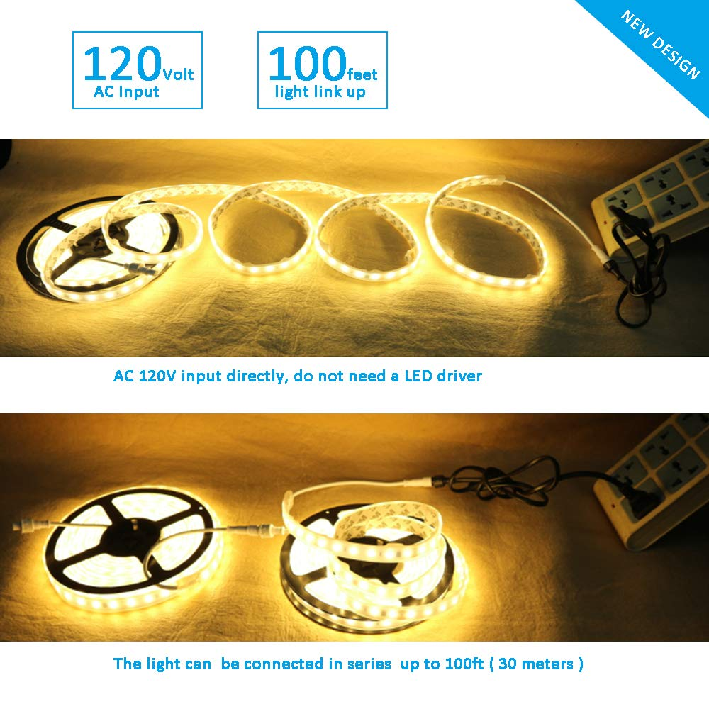 Enersystec Dimmable LED Strip Lights 4200K Daylight,120V Dimming by Wall Dimmer 300 LED 2835 16.4ft Under Cabinet Light Cove Light Accent Light, No Driver Need,100ft Extend Waterproof IP65