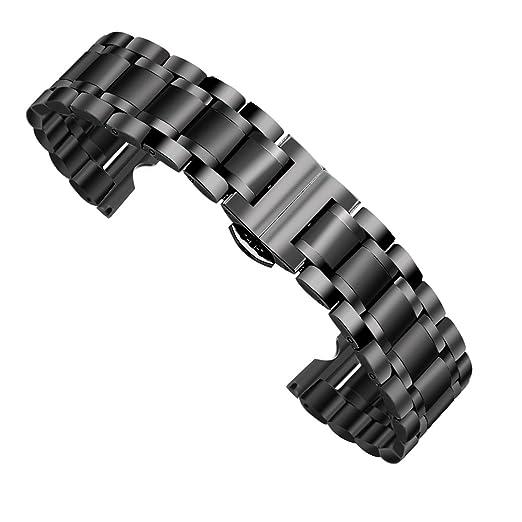 49 opinioni per Dokpav® Cinturino Cinghia Orologio Ricambi Acciaio Inox Colore Nero Fibbia