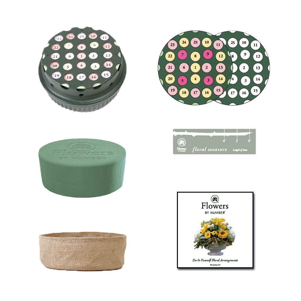 DIY Floral Arrangement Kit - Round Wet Floral Foam 6'' Dia x 3'', Wedding Aisle Flower Kit, Craft Party Decoration (15) by Flowers By Number (Image #1)
