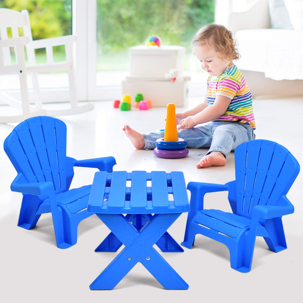 Costzon Kids Plastic Table and 2 Chairs Set, Adirondack Chair for Indoor & Outdoor Garden, Patio, Beach, Home, Toddlers Boys & Girls Activity Craft Table Set (Blue) by Costzon