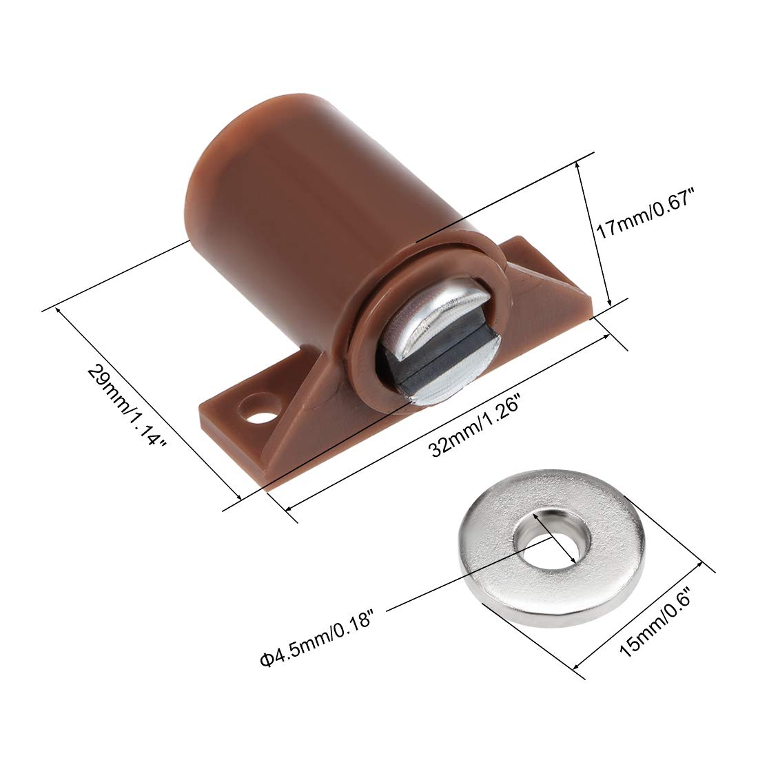 High Magnetic Heavy-duty Catch Brown 2pcs uxcell Cabinet /& Door Magnetic Latch Catch Cabinet