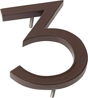 "product image for Montague Metal Products MHN-4-F-RB1-3 Solid Brushed Aluminum Modern Floating Address House Numbers, 4"", Powder Coated Roman Bronze"