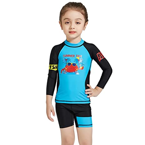 5ed8466bdf CADong Girls Boys 2PCS Swimsuit 3-8Y Swimming Set long Sleeve Swimwear  Summer Beach Swimming