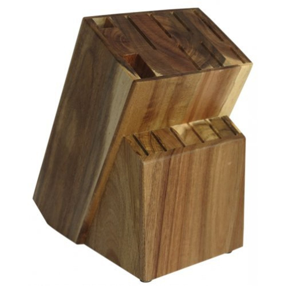 15 Slot Acacia/Rubber Wood Knife Block Without Knives By Coninx. Universal Knife Storage And Holder Organizer (Acacia)