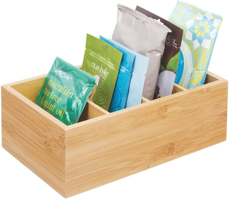 mDesign Bamboo Bathroom Storage Organizer Bin - 4 Divided Compartments - Holder for Hand Soap, Body Wash, Shampoo, Lotion, Conditioner, Hand Towel, Hair Brush, Mouthwash - Natural Bamboo