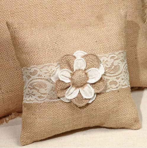 - Small Posey Floral & Lace French Burlap Accent Pillow - 8-in x 8-in