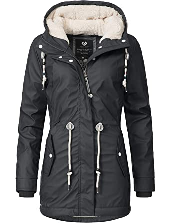 Ragwear Damen Outdoor Jacke Regenparka Monadis Rainy Black Label 7