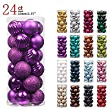 "KI Store 24ct Christmas Ball Ornaments Shatterproof Christmas Decorations Tree Balls SMALL for Holiday Wedding Party Decoration, Tree Ornaments Hooks included 1.57"" (40mm Purple)"