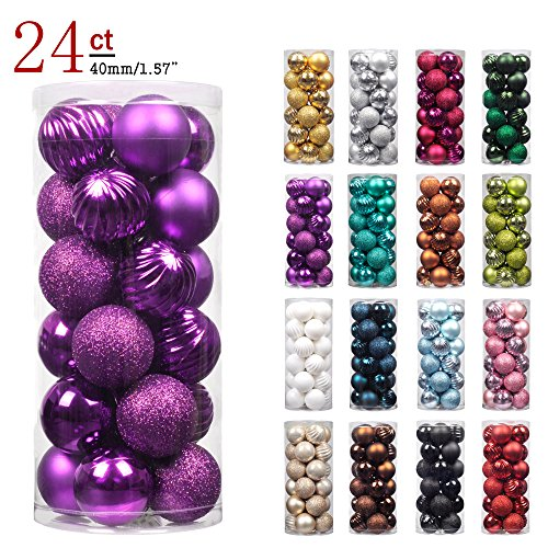 "KI Store 24ct Christmas Ball Ornaments Shatterproof Christmas Decorations Tree Balls SMALL for Holiday Wedding Party Decoration, Tree Ornaments Hooks included 1.57"" (40mm Purple) (Purple Tree Christmas With Ornaments)"