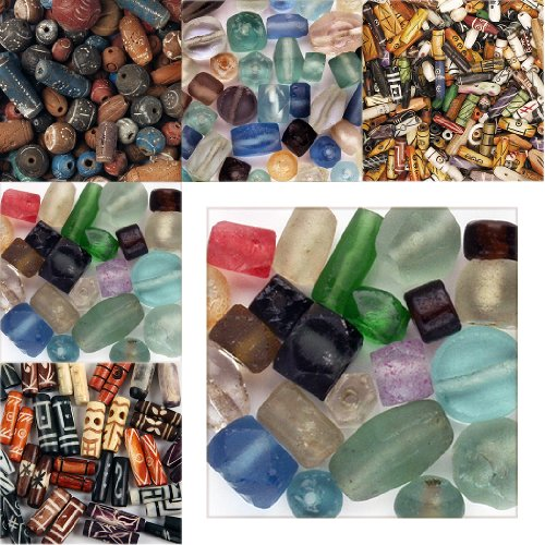 Beads - Recycled Glass Mix - 48 Plus Pieces, Pairs and Singles, Always (African Recycled Glass Beads)