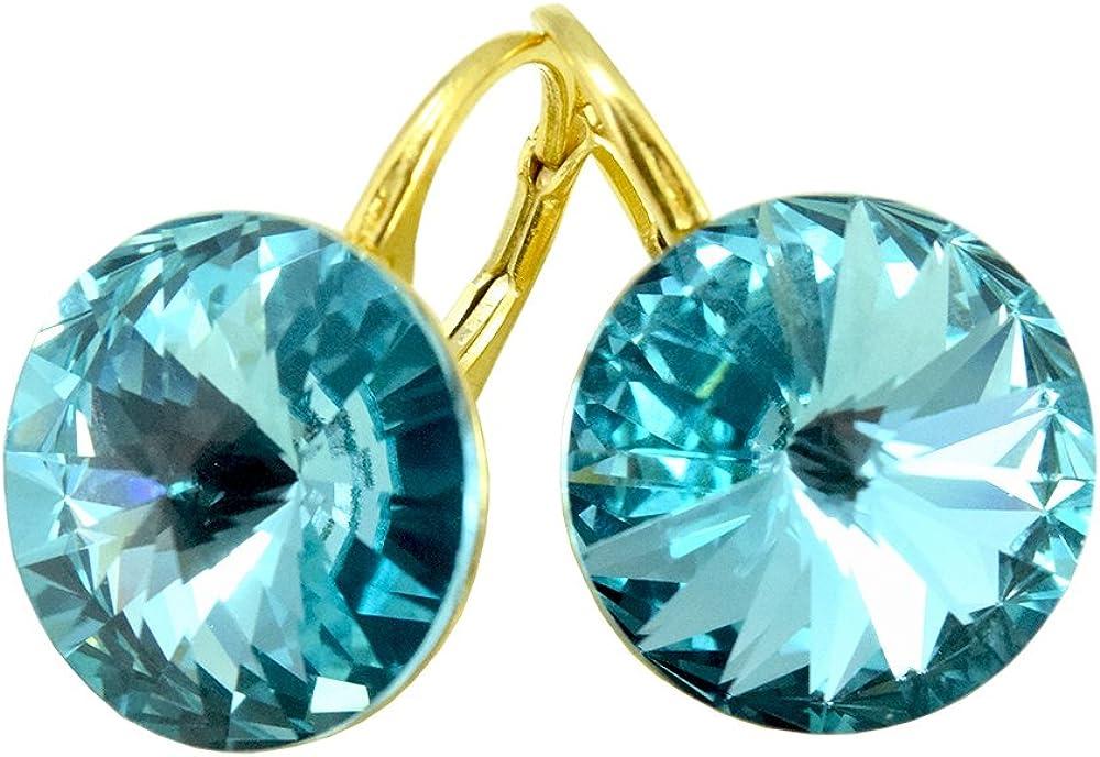 Crystals & Stones chapado en oro 24K * turquesa * * Rivoli * 14MM–Schön Pendientes–Pendientes con Cristales de Swarovski Elements–Fantástica Pendientes con caja de regalo