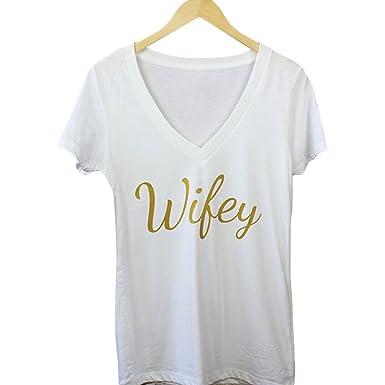 ZFFde Camiseta de mujer Short Top Letras de Wifey de oro de la moda de las mujeres camisetas impresas de la manga corta del cuello en V para ti (Color ...
