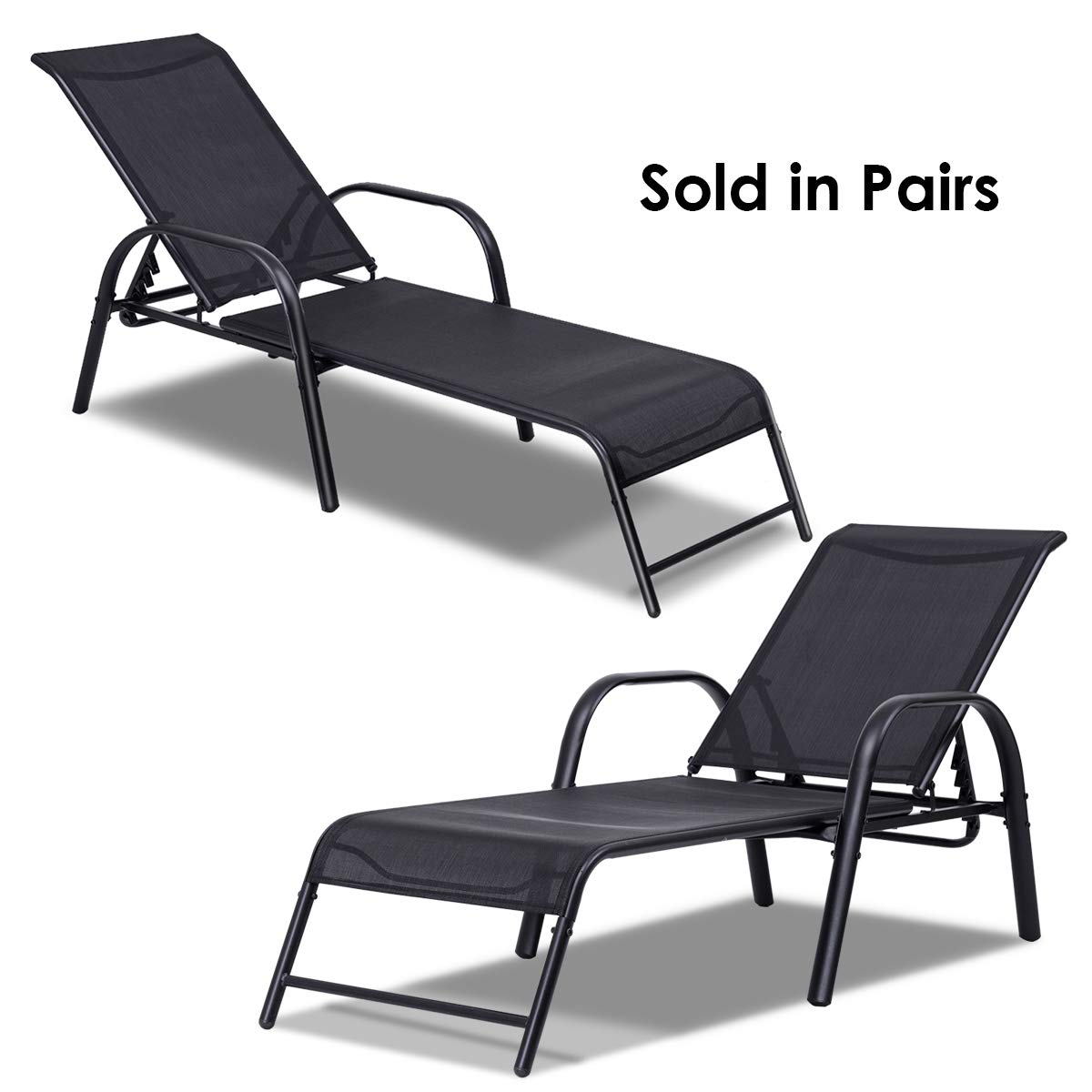 Giantex 2 Pcs Outdoor Patio Chaise, Adjustable Lounge Chairs Patio Furniture, Backyard Lawn Sling Chaise w/Adjustable Back, Beach Yard Pool Folding Recliners by Giantex