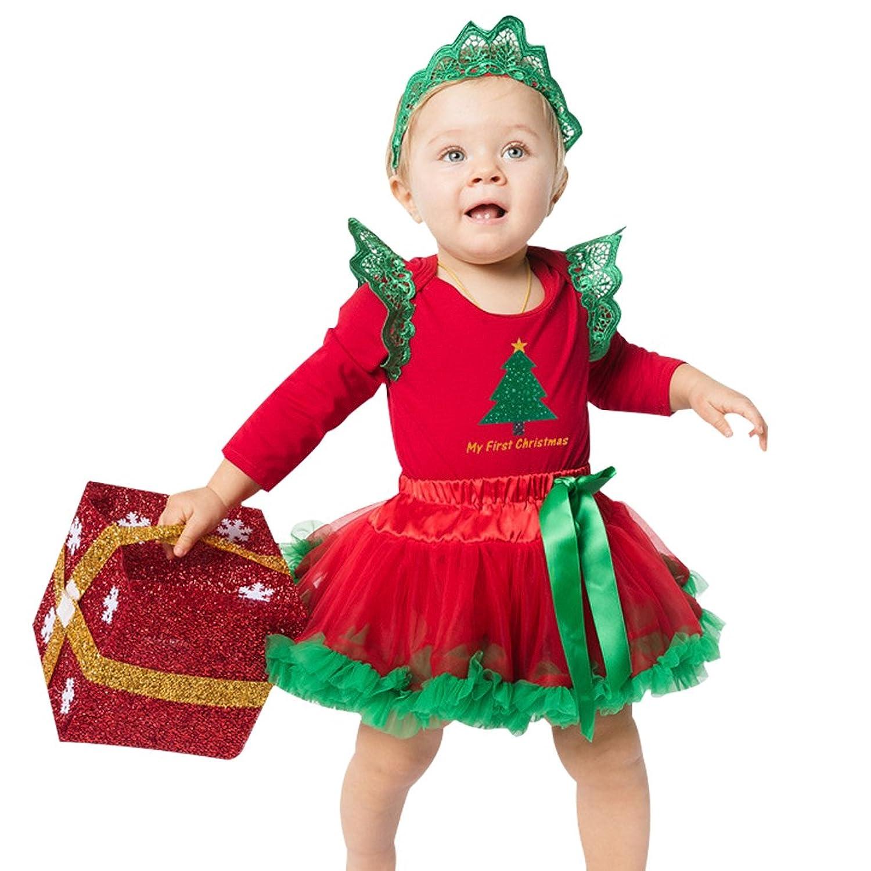 OFF Vine Newborn Baby Girl Christmas Dress Romper Jumpsuit Santa