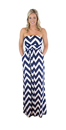 48711957dbac Image Unavailable. Image not available for. Color  Charm Your Prince  Women s Sleeveless Summer Chevron Empire Maxi ...