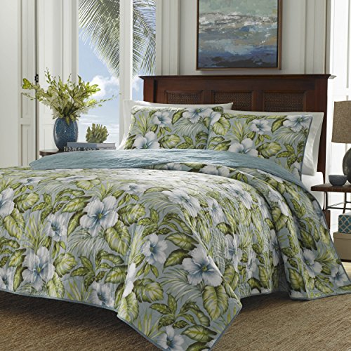 Tommy Bahama 220623 Alba Botanical Quilt Set, Harbor Blue, Twin
