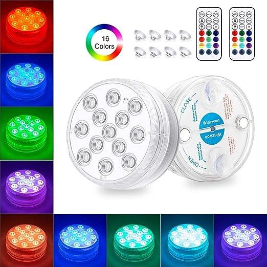 Winzwon Luz subacuática, luz LED para piscina, con mando a distancia, magnética, ventosas, IP68, impermeable, 13 LED, para jarrón, base, fiesta, Navidad, piscina, Halloween (2 unidades): Amazon.es: Iluminación