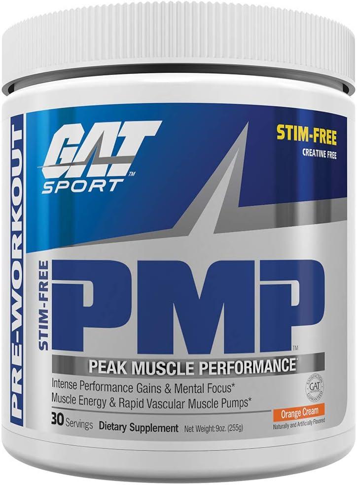 GAT Sport PMP Peak Muscle Performance, Stimulant Free, Creatine Free, Orange Cream, 30 Servings