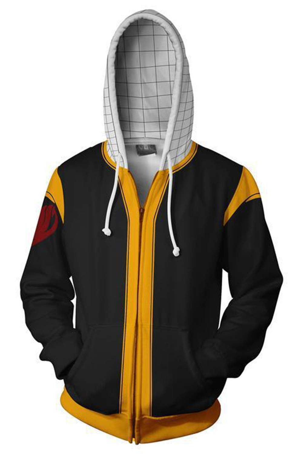 Fengstore Fairy Tail Natsu Dragneel Men's 3D Printed Hoodie Halloween Cosplay Costume Jacket Sweatshirt by Fengstore
