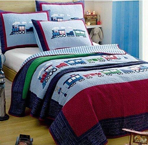 LELVA Children's Bedspreads Set Kids Bedding Boys Train B...