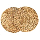 HomeDo Water Hyacinth Straw Woven Placemats Natural Handmade Round Braided Heat Resistant Non-Slip Tablemats Home Decor (Grass-2, 11.8''(30cm))