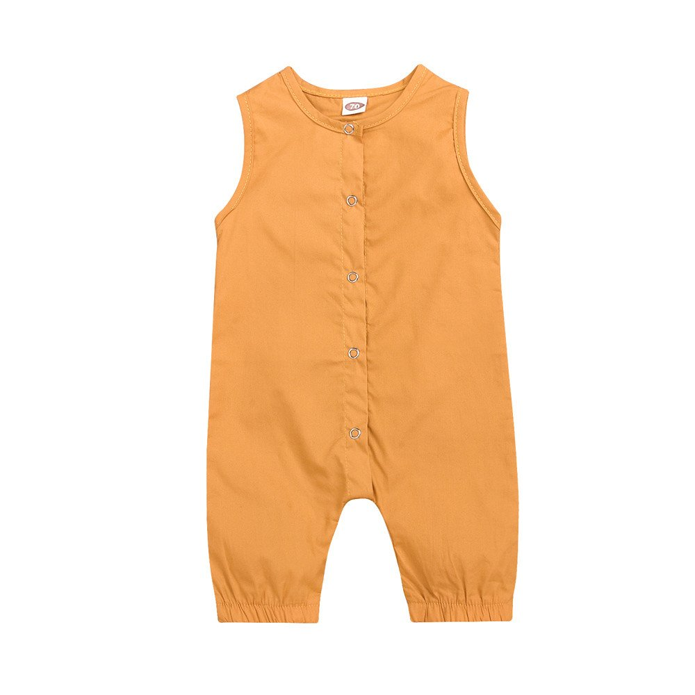 Fenleo Newborn Baby Boys Girls Button Down Solid Color Sleeveless Romper Jumpsuit Outfit