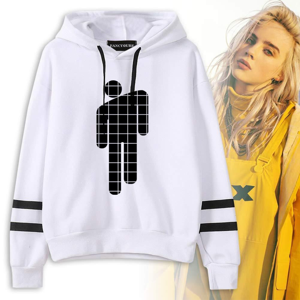 Herqw61 Damen M/ädchen Billie Eilish Pullover Hoodie Langarm Sweatshirt Gestreift Pulli