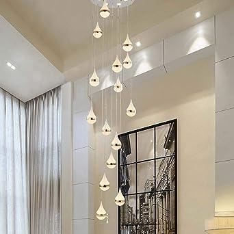 Z.L.FFLZ Araña de Luces Sala de Estar Escaleras Largo araña de Cristal Gotas Sand Villa ático en la Planta de la Escalera Espiral de la lámpara 50x200cm Colgante de luz: Amazon.es: Iluminación