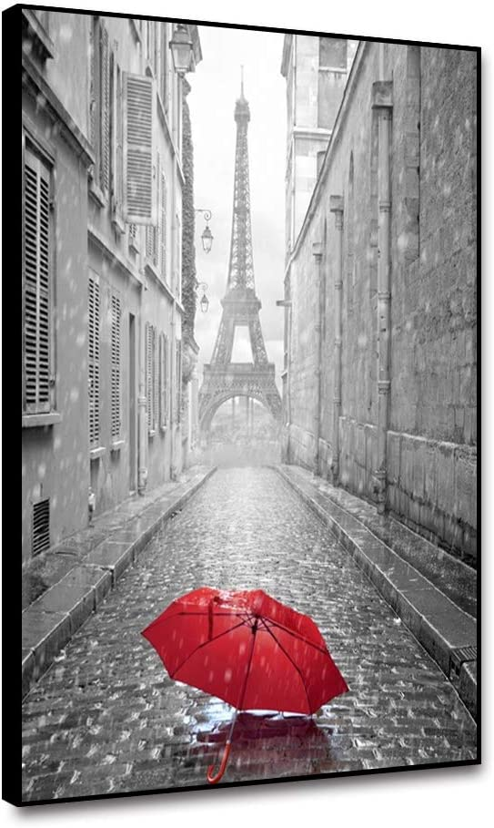 """Leowefowas Framed Canvas Wall Art Home Decor Black And White Effiel Tower Paris Street Red Umbrella Canvas Painting For Living Room Bedroom 8x10"""" Printed Poster Canvas Prints Artwork Wall Poster"""