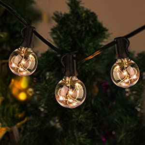 SUPERNIGHT Outdoor String Lights, 35ft G40 Globe Hanging Light Decorative for Patio Porch Deck Backyard Bistro Party Balcony Cafe,Warm White,30 Bulbs Hanging Sockets,IP65 Waterproof, 30+2 Bulbs