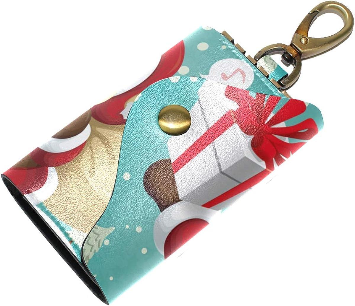 KEAKIA Vintage Christmas Poster Design Leather Key Case Wallets Tri-fold Key Holder Keychains with 6 Hooks 2 Slot Snap Closure for Men Women