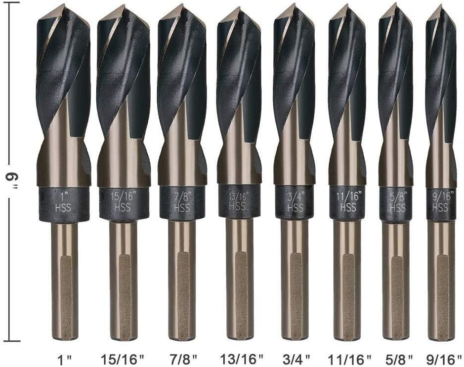 High Speed Steel Twist Drill SAE Size 9//16-1 with Aluminum Carry Case Dr OUPPENG Industrial Rotary 8Pcs 1//2 Shank Silver and Deming Drill Bit Set 135 Degree Split Point Desig HSS