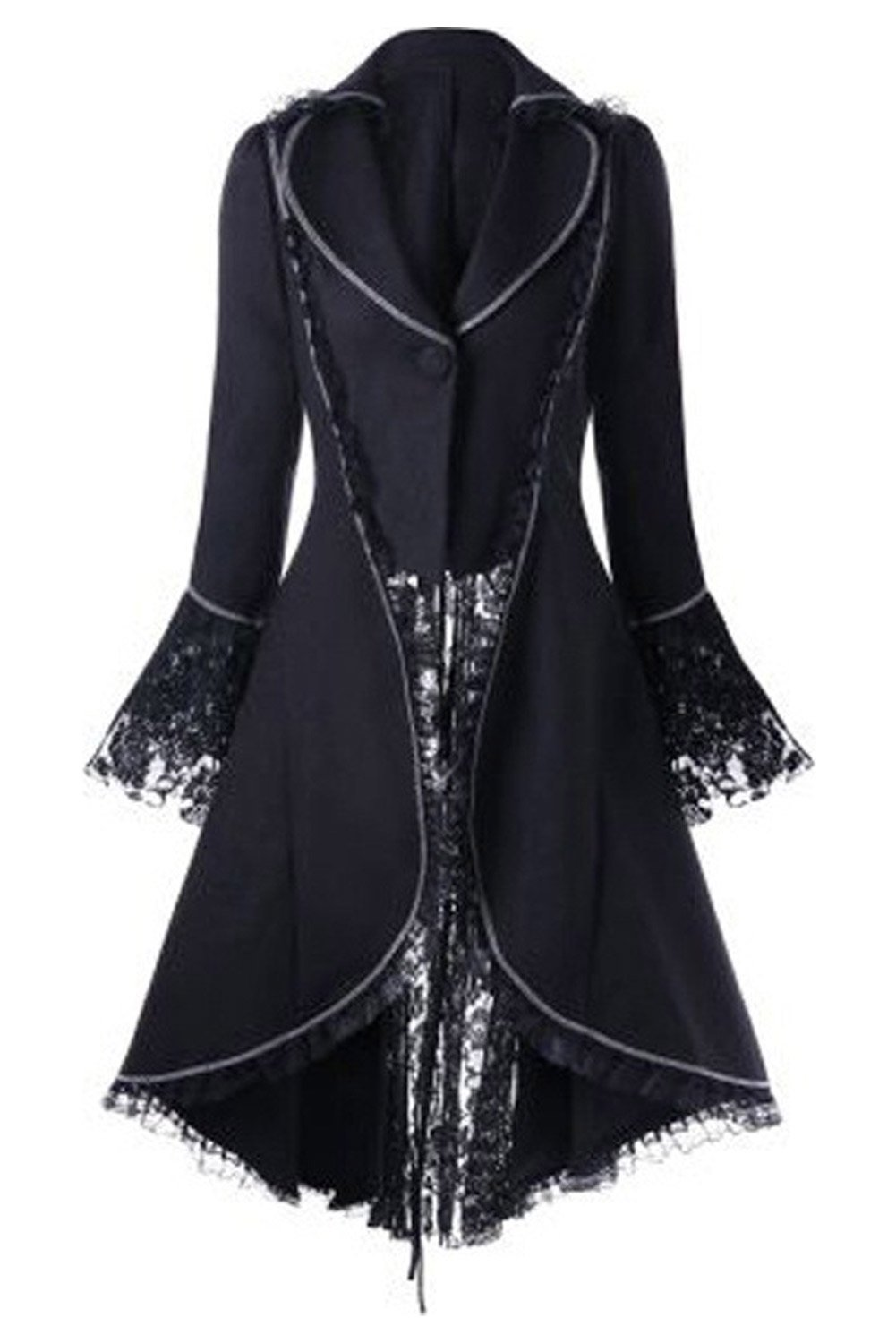 CHECKIN Women's Gothic Tailcoat Steampunk Jacket Tuxedo Suit Victorian Costume Coat (X-Large, Black) by CHECKIN