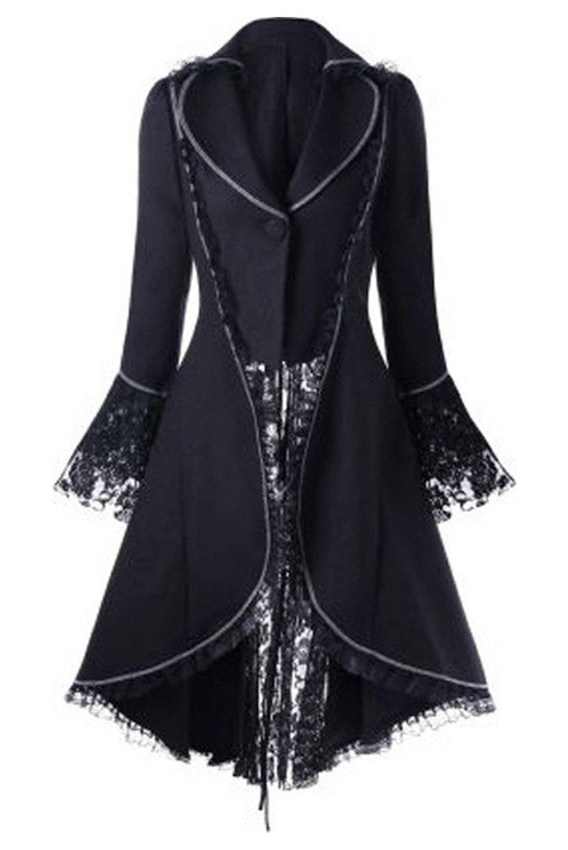 CHECKIN Women's Gothic Tailcoat Steampunk Jacket Tuxedo Suit Victorian Costume Coat (XX-Large, Black)