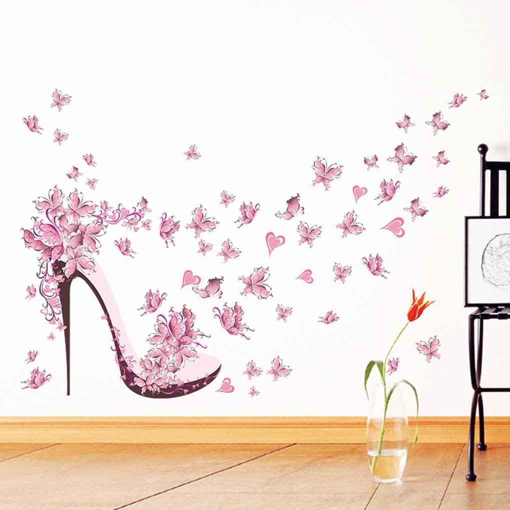 Regard Natral Rosa de Bricolaje Zapatos de tac/ón Alto de Las Mariposas Etiqueta de la Pared removible para la decoraci/ón del hogar