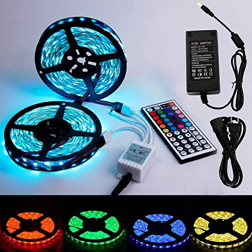 2017 10m 30leds/m RGB 5050 SMD Waterproof 300 LED Lighting Rope Lights Strip Flexible Light +Two Outputs 44k IR Remote + 5A Power (Hawaiian Jumbo Lei)